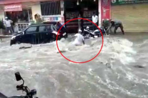 Viral Video: Man Swept Away In Flooded Yousufguda Streets